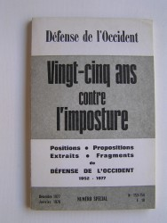 Collectif - Vingt-cinq ans contre l'imposture. Defense de l'Occident N°153-154
